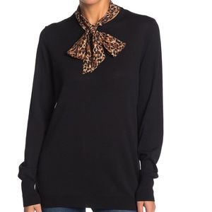 NWT 14th & Union black sweater leopard pussy bow